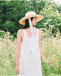 Beaumont Organic Wide Brim Hat With Off White Tie - Multicolor