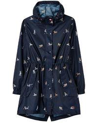 Joules Ladies Golightly Printed Waterproof Packaway Jacket - Blue