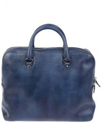 Orciani Men's Pb0014blu Blue Leather Briefcase