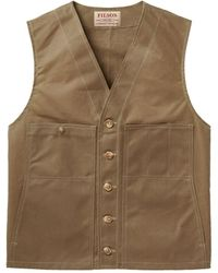 Filson Oil Tin Cloth Vest Dark Tan - Brown