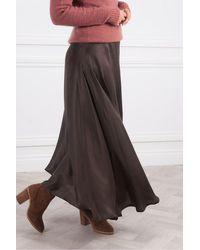 Leon & Harper Jacinthe Plain Skirt - Brown