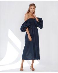 Sleeper Atlanta Linen Dress In Navy - Blue