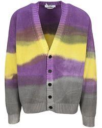MSGM Tie-dye Cardigan - Purple