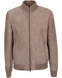 Salvatore Santoro Men's 37520utaupe Beige Suede Outerwear Jacket - Brown