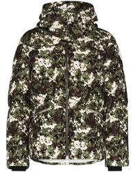 Moncler Camouflage Logo Print Down Jacket - Green