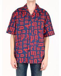 Palm Angels Bowling Shirt Monogram - Blue