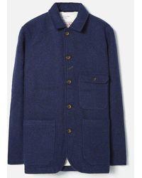 Universal Works Norfolk Bakers Jacket In Indigo Harris Tweed - Blue