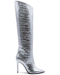 Aldo Castagna Women's Elise150argento Silver Leather Boots - Metallic