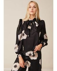 PHOEBE GRACE Esme Tie Neck Shirt With Puff Sleeve In And Cream Poppy - Black