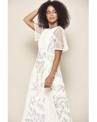 Frock and Frill Jasmine Short Sleeved Embroidered Maxi Dress - White