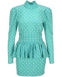 Alessandra Rich Polka-dot Dress - Blue