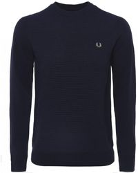 Fred Perry - Textured Wool Blend Navy Jumper - Lyst