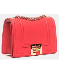 Elisabetta Franchi Amaranth Clutches Messenger With Chain And Logo In Gold Light - Red