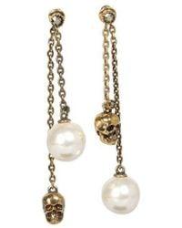 McQ Skull And Pearl Pendant Earrings - Metallic
