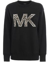 Michael Kors Women's Mf95mc697f001 Black Cotton Sweatshirt
