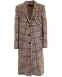 Dondup Houndstooth Coat - Brown