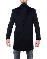 Canali Men's Fu0003959118 Black Wool Coat