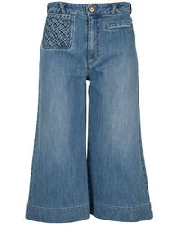 See By Chloé Signature Denim Shorts - Blue