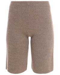 Erika Cavallini Semi Couture Virgin Wool Bermuda Shorts - Brown