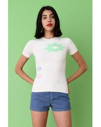 JoosTricot The Short Sleeve Crew In Icewater Flower - Green