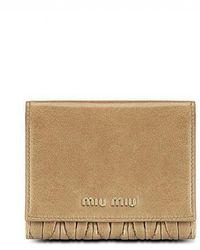 Miu Miu Matelasse Calf Leather Wallet - Brown
