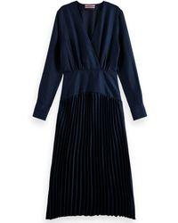 Scotch & Soda Pleated Navy Dress - Blue