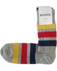 RoToTo Park Stripe Crew Socks Mid - Grey