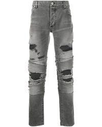 Balmain - Men's Th05385z0630pa Grey Cotton Jeans - Lyst