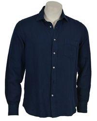 Hartford Av01005 Linen Mix Shirt Navy - Blue