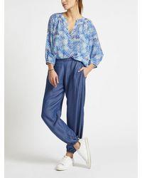 Nrby Olivia Silk Animal Print Shirt - Blue