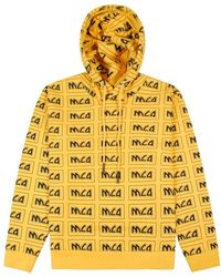 McQ All Over Logo Hoodie Yellow Colour: Yellow