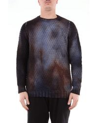 Jeordie's Molecular Dye Sweater With Ribbed Crew Neck - Blue