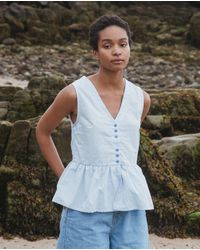 Beaumont Organic Tamsin Organic Cotton Blouse In Pale - Blue