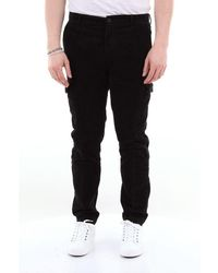 Yan Simmon Corduroy Trousers With America Pocket With Cargo Pockets - Black