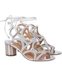 Ferragamo - Gancini Sandal With Flower Heel - Lyst