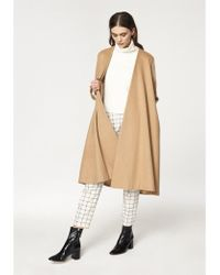 Paisie A-line Collarless Coat With Cuff Details - White