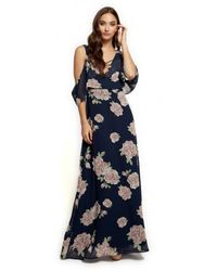Dex Cold Shoulder V Neck Maxi Dress - Blue