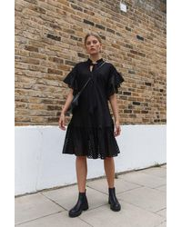 Palones Spot Mesh Ruffle Detail Dress - Black