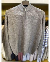 Remus Uomo Textured Half-zip Turtle-neck Sweater - Gray