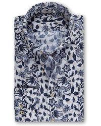 Stenströms Floral Print Linen Shirt 001 Print - Blue