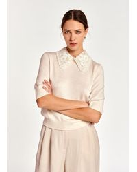 Essentiel Antwerp Antwerp - Off- Sweater With Lace And Pearl-embroidered Collar - White