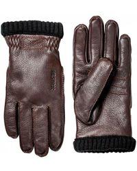 Hestra - Deerskin Primaloft Rib Gloves Dark Brown - Lyst