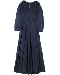 Emin & Paul Silky Middle Shirring Dress Black - Blue