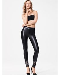 Wolford Emma Faux Leather leggings With Lace - Black