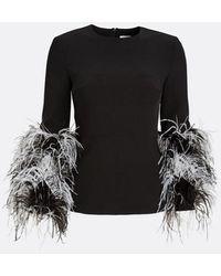 Huishan Zhang Lola Feather Top - Black