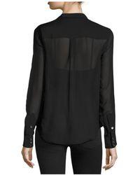 Equipment Leema Tie Neck Silk Blouse - Black