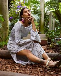 Cecilia Prado Black & Knit Maxi Dress - White