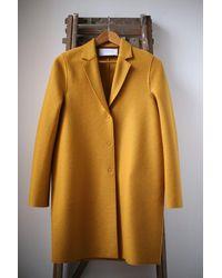 Harris Wharf London Golden Yellow Cocoon Coat
