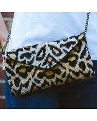Yunion T Mia Leopard Velvet Ikat Clutch Bag - Multicolour