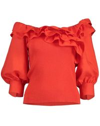 ADEAM Fiery Daisy Knit Top - Red